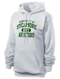 Crafted for comfort, this lighter weight Sycamore High School Aviators hooded sweatshirt is perfect for relaxing and it's a real value for a sportswear hoody. A must have for the serious Sycamore High School Aviators apparel and merchandise collection. 50/50 cotton/poly fleece hoodie with two-ply hood, dyed-to-match drawcord, set-in sleeves, and front pouch pocket round out the features of a Aviators hooded sweatshirt.