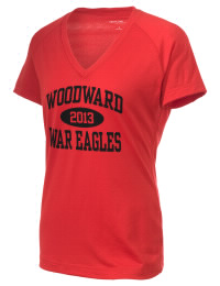 The Ladies Ultimate Performance V-Neck Woodward Academy War Eagles tee is perfect for your active lifestyle.  The V-neck performance t-shirt is made with moisture wicking fabric and has a soft, cotton-like feel. This layerable Woodward Academy War Eagles V-neck tee is sure to become a favorite on and off the court.
