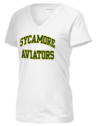 The Ladies Ultimate Performance V-Neck Sycamore High School Aviators tee is perfect for your active lifestyle.  The V-neck performance t-shirt is made with moisture wicking fabric and has a soft, cotton-like feel. This layerable Sycamore High School Aviators V-neck tee is sure to become a favorite on and off the court.