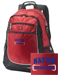 A go-anywhere Natick High School Redhawks backpack design in a streamlined size that's engineered to hold all the essentials in place. Convenient dual-side mesh water bottle pockets, and front pocket with organizer panel. Great for Natick High School Redhawks fan gear.