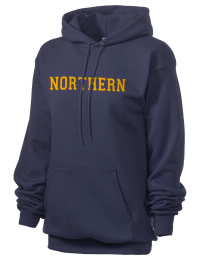 Crafted for comfort, this lighter weight embroidered Northern High School Knights hooded sweatshirt is perfect for relaxing.  A must have hoody for the serious Northern High School Knights apparel and merchandise collection. 50/50 cotton/poly fleece hoodie with two-ply hood, dyed-to-match drawcord, set-in sleeves, and front pouch pocket round out the features of a Knights hooded sweatshirt.
