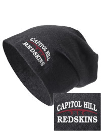 On the street or on the slopes, stay warm and look cool in this Capitol Hill High School Redskins knit hat. An acyrlic/polyester blend beanie with a snug yet slouchy fit. Embroidery will not be on center front, but off centered to the left.