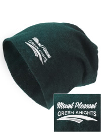 On the street or on the slopes, stay warm and look cool in this Mount Pleasant High School Green Knights knit hat. An acyrlic/polyester blend beanie with a snug yet slouchy fit. Embroidery will not be on center front, but off centered to the left.